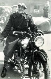 George Brough with his Motorcycle