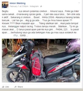 Bro Imron yang mengaku ditilang di kota Cirebon karena membawa tas